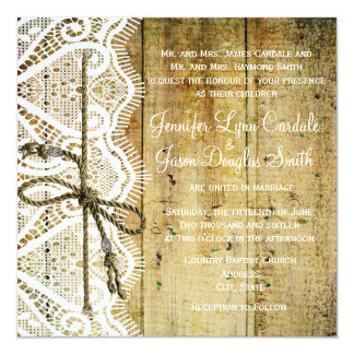 Rustic Country Wood Lace Square Wedding Invitation