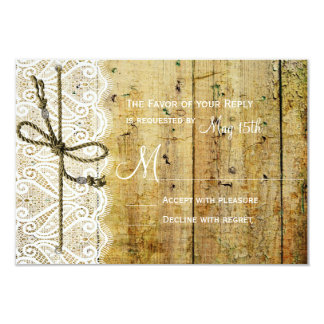 Rustic Country Wood Lace Square Wedding RSVP Cards
