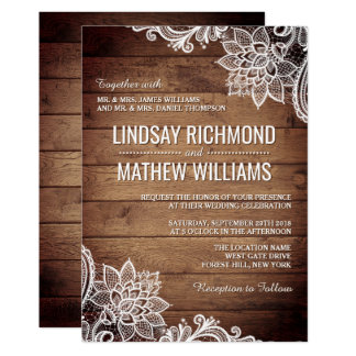 Rustic Country Wood Lace Wedding Invitation - 3D