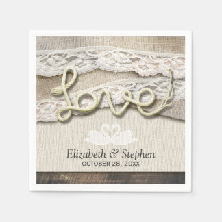 Rustic Country Wood Love Rope Burlap Lace Wedding Paper Napkin