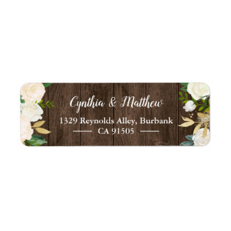 Rustic Country Wood White Gold Garden Flowers Return Address Label