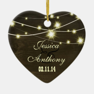 rustic country wood with string of lights Double-Sided heart ceramic christmas ornament