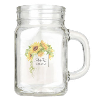 Rustic Countryside Sunflowers with Initials Mason Jar
