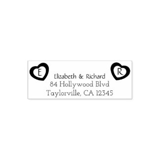Rustic Couple Hearts | Wedding Return Address Self-inking Stamp