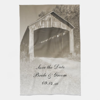Rustic Covered Bridge Wedding Save the Date Tea Towel