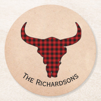 Rustic Cow Skull Personalized Paper Coasters