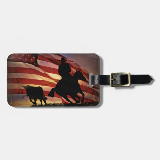 Rustic Cowboy and Steer Roping with American Flag Luggage Tag