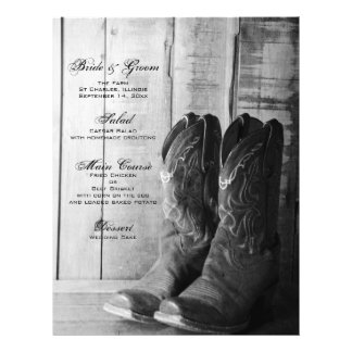 Rustic Cowboy Boots Country Wedding Menu 21.5 Cm X 28 Cm Flyer