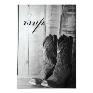 Rustic Cowboy Boots Country Wedding RSVP Response 9 Cm X 13 Cm Invitation Card