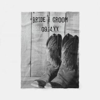 Rustic Cowboy Boots Country Western Wedding Fleece Blanket