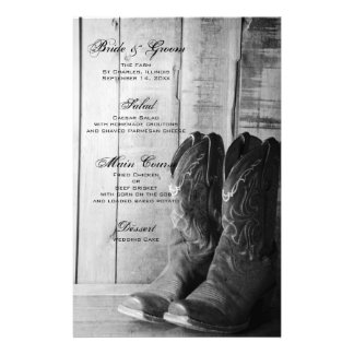 Rustic Cowboy Boots Country Western Wedding Menu Personalised Stationery