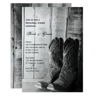 Rustic Cowboy Boots Wedding Rehearsal Dinner Card