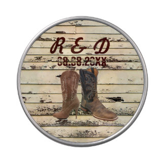 rustic Cowboy Boots Western country Wedding Jelly Belly Candy Tins