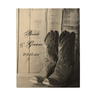Rustic Cowboy Boots Western Wedding Keepsake Wood Print