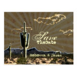 Rustic cowboy country cactus western save the date post cards