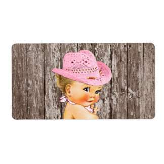 Rustic Cowgirl Baby Shower Water Bottle Label