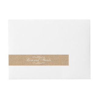 Rustic Craft Silver Confetti Wedding Wraparound Address Label
