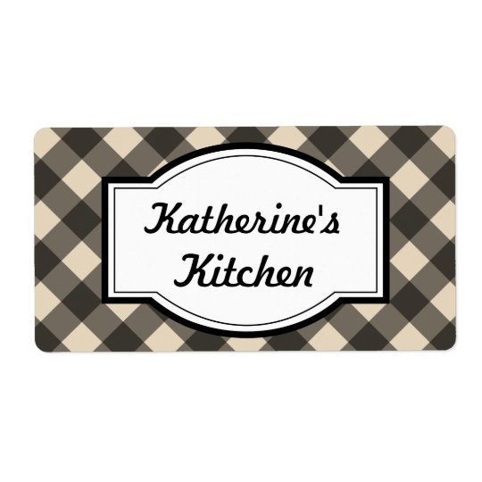 Rustic Cream Black Custom Kitchen Gift Tag Labels