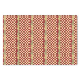Rustic Crimson and Cream Checkered Paint Tissue Paper