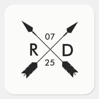 Rustic Crossed Arrow | Custom Wedding Date Square Sticker