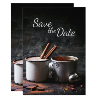 Rustic Cup of Tea and Hot Chocolate Save the Date Card
