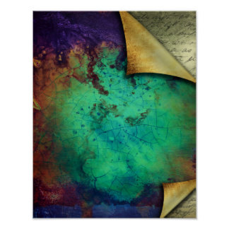 Rustic Curled Pages Turquoise Grunge Texture Poster