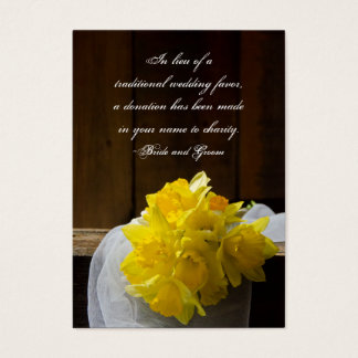 Rustic Daffodil Barn Wedding Charity Favor Card