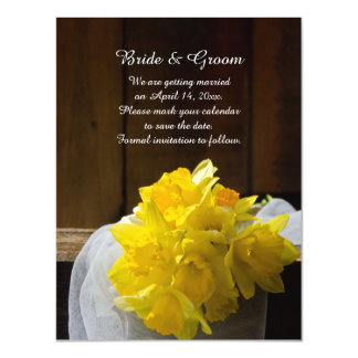 Rustic Daffodils Barn Wood Wedding Save the Date Magnetic Invitations