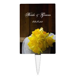 Rustic Daffodils Country Wedding Cake Topper