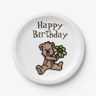 Rustic Daisy Bear Birthday Paper Plate