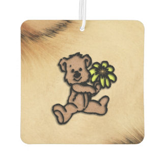 Rustic Daisy Bear Design Car Air Freshener