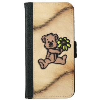 Rustic Daisy Bear Design iPhone 6 Wallet Case