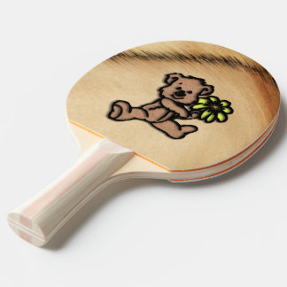 Rustic Daisy Bear Design Ping Pong Paddle