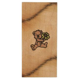 Rustic Daisy Bear Design Wood USB Flash Drive