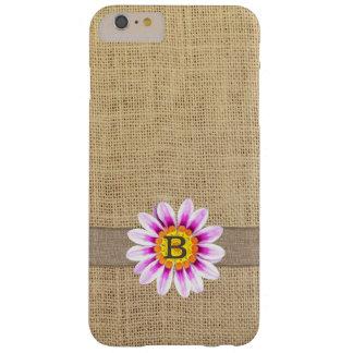 Rustic Daisy & Burlap Monogram iPhone 6 Plus Case