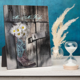 rustic daisy western country cowboy wedding plaque