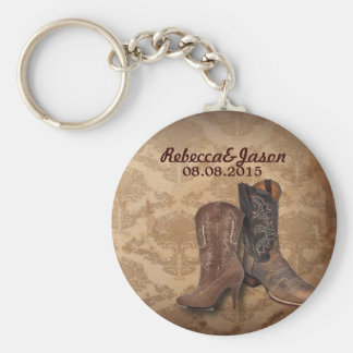 rustic damask Western Cowboy wedding favor Key Ring