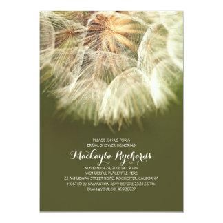 Rustic dandelion country bridal shower 13 cm x 18 cm invitation card