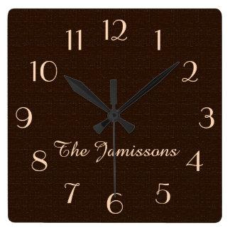 Rustic Dark Brown Faux Burlap Clock Personalized