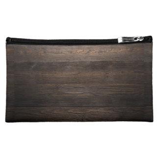 Rustic Dark brown WOOD LOOK texture Cosmetic Bag