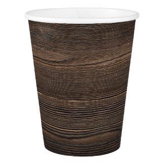 Rustic Dark brown WOOD LOOK texture Paper Cup
