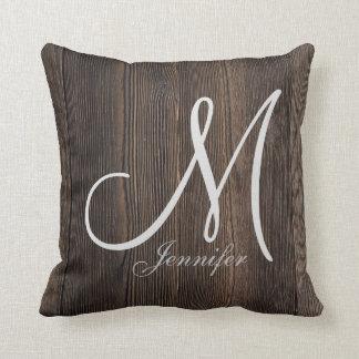 Rustic Dark brown WOOD LOOK WHITE Monogram Cushion