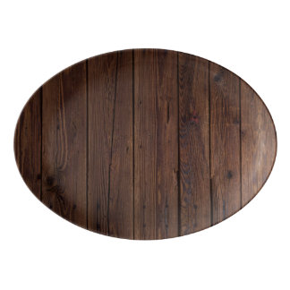Rustic Dark Brown Wood Wooden Country Style Porcelain Serving Platter