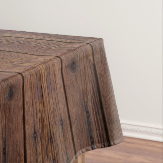 Rustic Dark Brown Wood Wooden Country Style Tablecloth