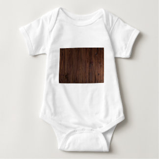 Rustic Dark Brown Wood Wooden Fence Country Style Baby Bodysuit