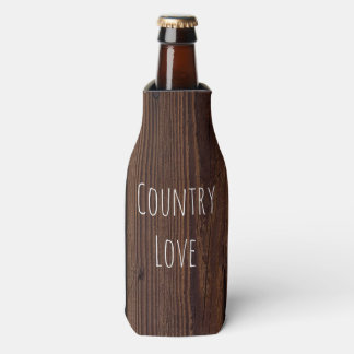 Rustic Dark Brown Wood Wooden Fence Country Style Bottle Cooler