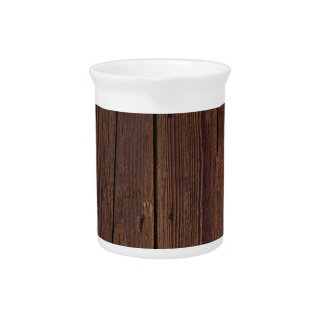 Rustic Dark Brown Wood Wooden Fence Country Style Pitcher
