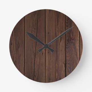 Rustic Dark Brown Wood Wooden Fence Country Style Round Clock