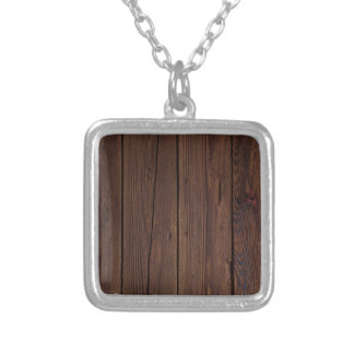 Rustic Dark Brown Wood Wooden Fence Country Style Silver Plated Necklace