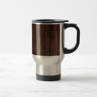 Rustic Dark Brown Wood Wooden Fence Country Style Travel Mug